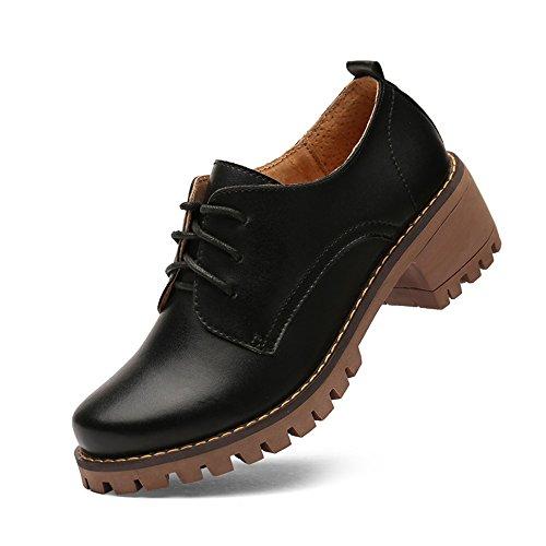 Oxfords Negro Piel Cordones de con Mujer Zapatos Tacones con Luyomy Clásicos Clásico Bajos para UqOwH47