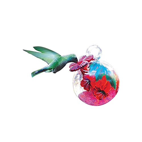 (PARASOL Droplet Glass Hummingbird Feeder - Hand Blown Floral Painted Eco-Friendly Nectar Holder with Metal Hanger)