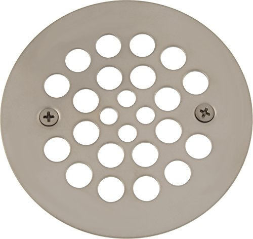 4 -1/4 inch OD Screw-in Shower Strainer with 2-5/8 inch Screw Holes- PVD Polished Nickel (Drain Nickel Polished Shower)