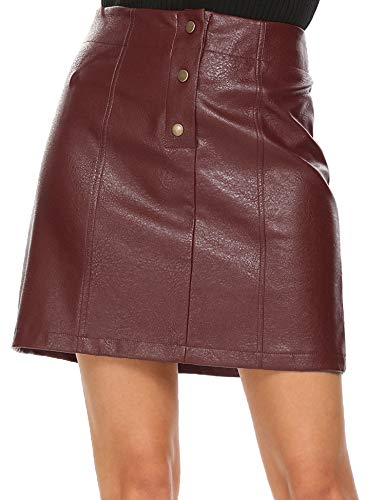 (Mofavor Women's Button Front Classic High Waist A Line Faux Leather Mini Skirt)