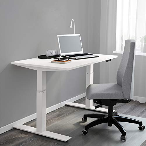 Clevr Electric Stand Up Desk Frame Workstation, White, Single Motor Ergonomic Standing Height Adjustable Base, Desk Frame & Table Top Bundle