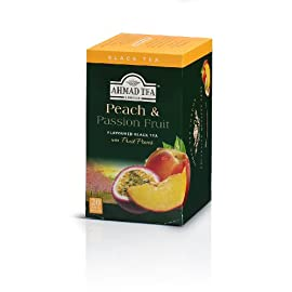 Ahmad Tea Peach & Passion Fruit Black Tea, 20-Count Boxes (Pack of 6) 57 Case of six boxes, each containing 20 foil-wrapped tea bags (120 total tea bags) A blend of Ceylon and other origin teas with peach and passion fruit flavoring Stimulating tea with a resonant, fruity aroma