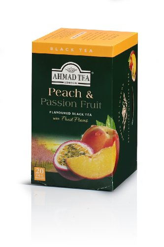 Ahmad Tea Peach & Passion Fruit Black Tea, 20-Count Boxes (Pack of 6) 1 Case of six boxes, each containing 20 foil-wrapped tea bags (120 total tea bags) A blend of Ceylon and other origin teas with peach and passion fruit flavoring Stimulating tea with a resonant, fruity aroma
