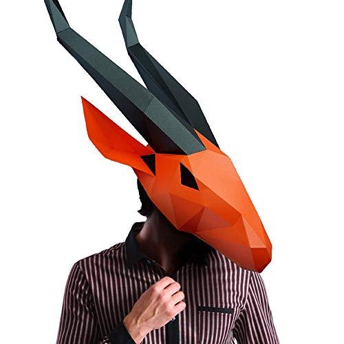 Diy Masque Halloween (Animal 3D mask Series 2 Party Halloween Helmet DIY Cosplay Creative Handwork Funny Masker Lovely (Antelope))