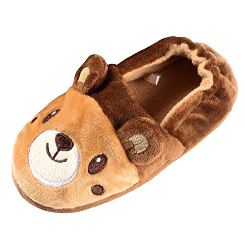 Beeliss Boys Slippers Cartoon House Shoes (5-6 M US Toddler, Brown/Bear)