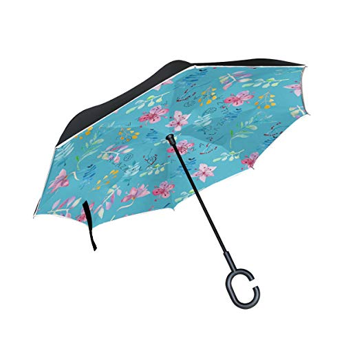 - YoKII Inverted Umbrella,Poppies and Daisies Floral Printing Wild Flowers Umbrella Windproof,Umbrellas for Women with UV Protection,Upside Down Umbrella with C-Shaped Handle