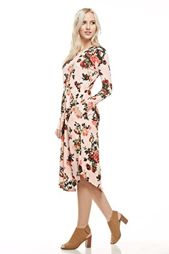 Reborn J's Floral Midi Dress (Small, Blush)