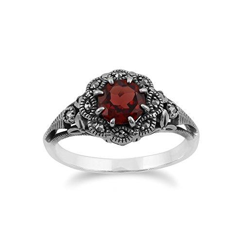 Gemondo Marcasite Ring, Sterling Silver Garnet & Marcasite Ring