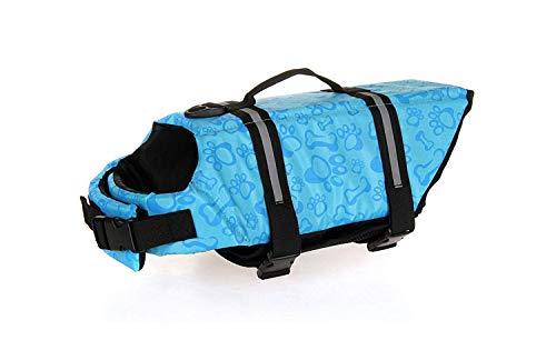 GabeFish Dog Life Jacket Vest Safety Clothes Collar Harness Saver Pet Swimming Preserver Reflective Strip Swimwear BoneBlue Medium