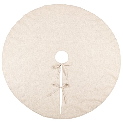 SARO LIFESTYLE Toscana Collection Natural Linen Blend Christmas Tree Skirt, 72