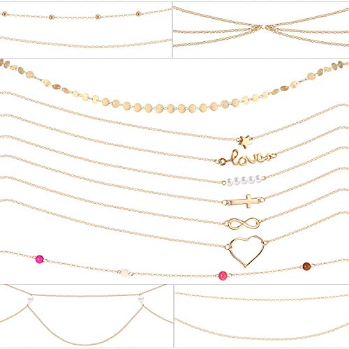 12 Pieces Belly Waist Chain Waist Bead Bikini Body Waist Chain Summer Beach Jewelry Set for Women Girls Gold Tone