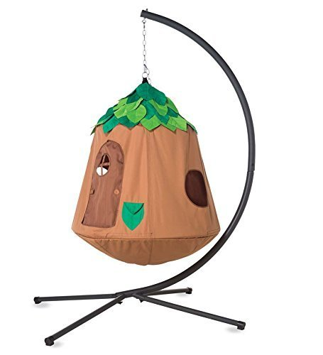 HearthSong Woodland Hugglepod Hangout Hanging Play Tent Special with Crescent Stand