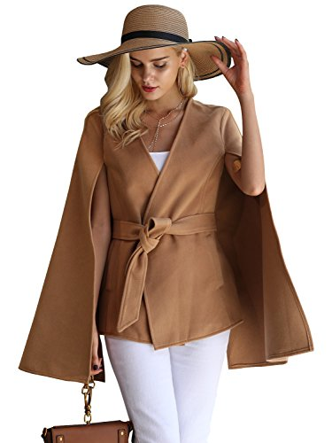 Glamaker Women's Casual Winter V Neck Cape Coat Split Coat Fashion Camel