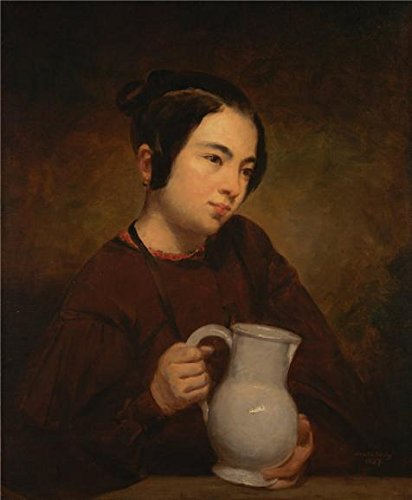 [Oil Painting 'George Peter Alexander Healy,Girl With A Pitcher,1837', 30 x 36 inch / 76 x 92 cm , on High Definition HD canvas prints is for Gifts And Basement, Hallway And Home Theater] (Peter Pan Cast Costumes)