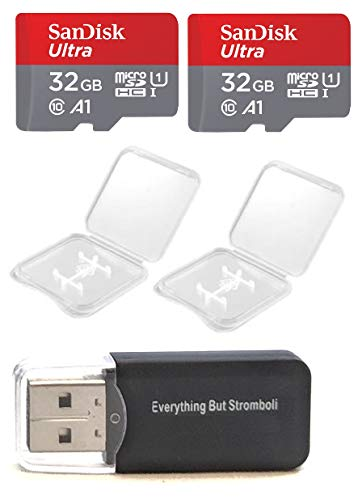 2 Pack - SanDisk Ultra 32GB Micro SD SDHC Memory Flash Card UHS-I Class 10 SDSQUAR-032G-GN6MA Wholesale Lot with 2 Plastic Jewel Cases and Everything But Stromboli (TM) Card Reader