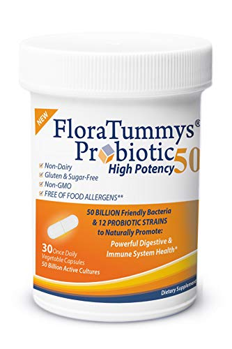 FloraTummys 50 High Potency Probiotic, 50 Billion CFU, 12 Probiotic Strains, Prebiotics, Dairy Free, Gluten Free Probiotic, Non-GMO, Sugar-Free, Free of Food Allergens, Made in USA