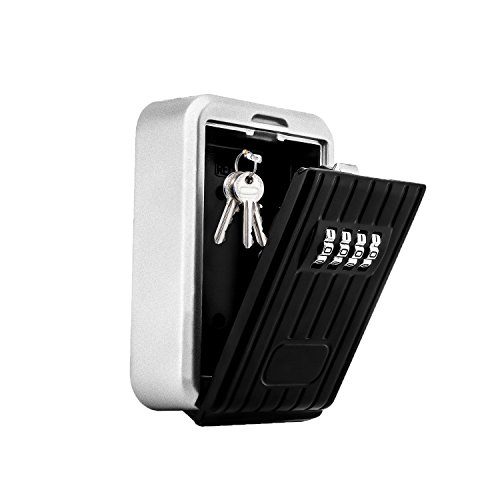 Key Lock Box,Key Storage Lock Box for House Key with 4-Digit Combination,Wall Mount Key Safe Box Weatherproof for Indoors and Outdoors (Wall Mount) by MorisMos
