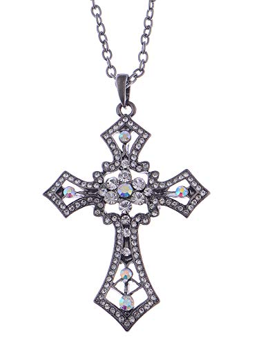 (Alilang Cross Pendant Necklace Gunmetal Chopper Black Crystal Rhinestone Holy Cross)