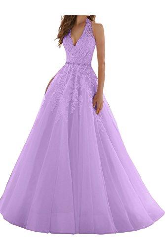 Ausschnitt Ballkleid Lila Abendkleid Ivydressing Hochzeitskleid Neckholder Damen V Elegant Spitze Xx4fFUOqw