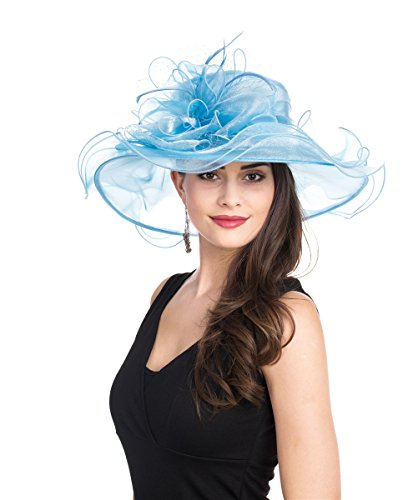- SAFERIN Women's Organza Church Kentucky Derby Fascinator Bridal Tea Party Wedding Hat (GZ-Light Blue Mash)