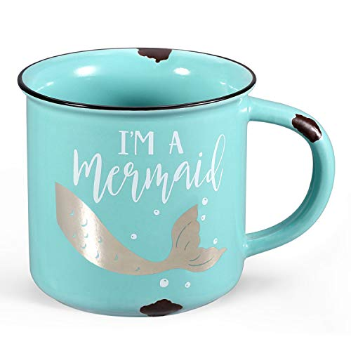 Porcelain Cup Ceramic Coffee Mug and Tea Mug Perfect for Camping or Home Gift for Wedding or Valentine's Day (Green) (Cup Coffee Mermaid)