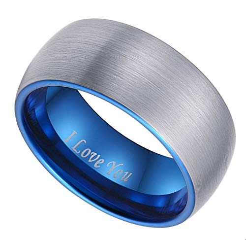 CROWNAL 6mm 8mm 10mm Blue Domed Tungsten Carbide Wedding Band Ring Engraved I Love You Men Women Brushed Finish (10mm,14) by CROWNAL