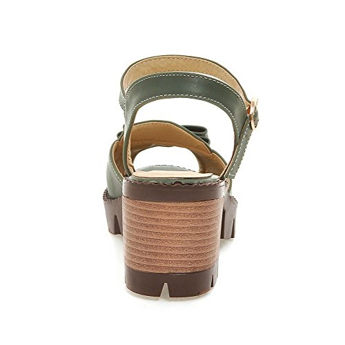 Buckle Green Heels Kitten Sandals Solid WeenFashion Women's Toe Peep PU CqpwxU4w