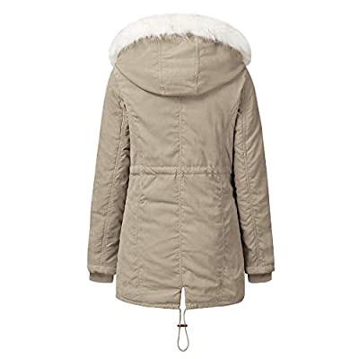 Sttech1 Women Winter Warm Fur Lined Outwear Lady Faux Fur Hooded Solid Long Sleeves Coat Overcoat Beige: Clothing