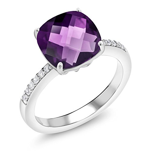 925 Sterling Silver Purple Amethyst Women's Ring 3.57 Ct Cushion Checkerboard Cut Gemstone Birthstone (Size ()