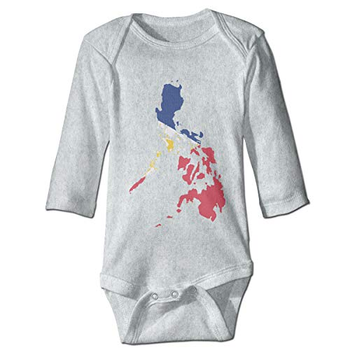 A14UBP Newborn Baby Boys Girls Jumpsuit Romper Filipino Map Philippines Flag Print Long Sleeve Underwear Babies Gray