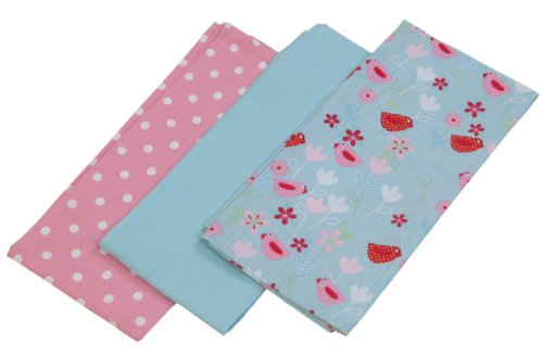 Homescapes Geschirrtücher Set Birds and Flowers 3tlg, rosa blau ca. 50 x 70 cm, Geschirrhandtücher aus 100% reiner Baumwolle, waschbare Trockentücher Geschirr