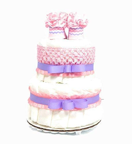 Pink and Lavender Baby Girl Diaper Cake Shower Centerpiece - 2 Tier Diaper Cake