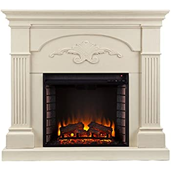 SEI Southern Enterprises Sicilian Harvest Electric Fireplace, Ivory Finish
