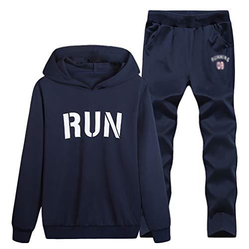 Homme Avec Pantalon Ensemble Longue Poche Hoodie Bleu Manche Sweatshirt Imprimé Foncé Survêtement Sport Capuche De Jogging Kuncg qAWEdA