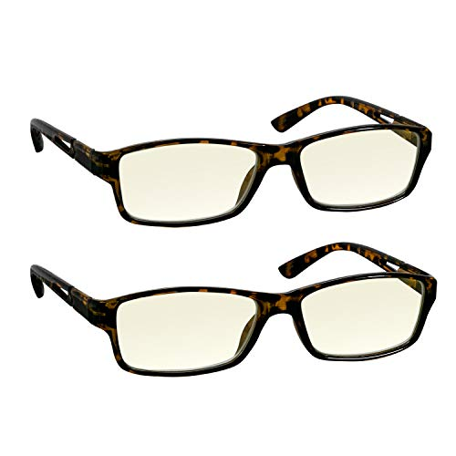 (Computer Reading Glasses 2.0 Tortoise 2 Pack for Men and Women Stylish Look and Crystal Clear Vision When You Need It! Comfort Spring Arms & Dura-Tight)
