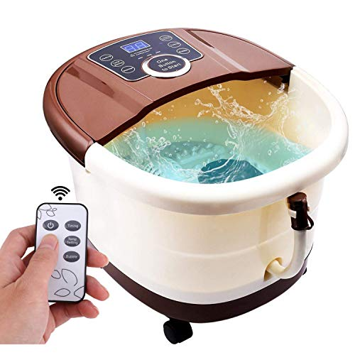 ACEVIVI Foot Spa Bath Motorized Massager with Heat, Frequency Conversion, Red Light Rolling Massage, Adjustable Time & Temperature, Water Spray Bubble ()