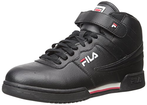 Fila Men's f-13v lea/syn Fashion Sneaker, Black/White Red, 11.5 M US