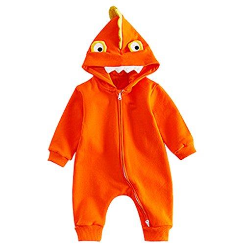 Bebone Baby Boys Cartoon Dinosaur Romper Long Sleeve Hooded Bodysuit Jumpsuit(orange,3-6m)