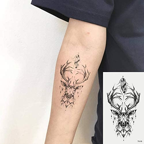 Oottati 2 Hojas Pequeño Lindo Tatuaje Temporal Tattoo Ciervo ...