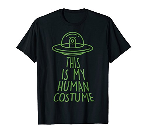 Halloween Outer Space Alien Abduction Human Costume T-Shirt ()