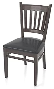GGM Muebles Bistro Gastro silla ~ Madera Wengué ~ piel negro ~ tapizado