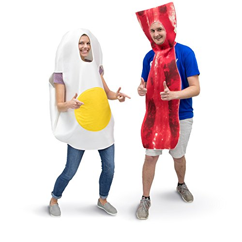 In And Out Burger Halloween Costume (Bacon & Egg Couple's Halloween Costume - Unisex One-Size Breakfast Food)