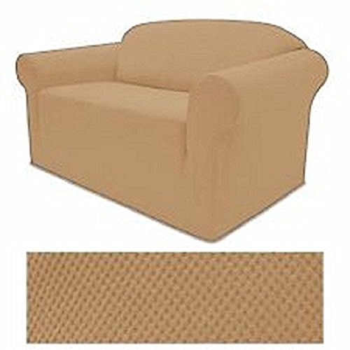 STRETCH FORM FIT - 3 Pc. Slipcovers Set, Couch/Sofa + Loveseat + Chair Covers - LIGHT GOLD Color, Stretch Pique Fabric