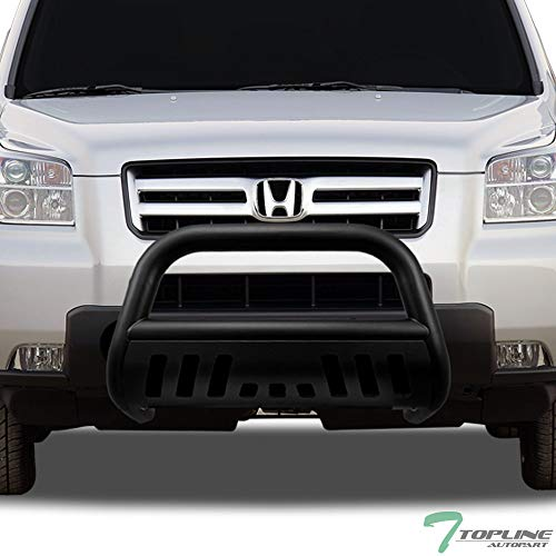 Topline Autopart Matte Black Bull Bar Brush Push Front Bumper Grill Grille Guard With Skid Plate For 03-08 Honda Pilot ; 06-14 Ridgeline