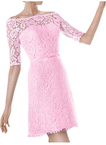 Damen Rosa Kurz Ausschnitt Abendkleid Aermel U Ivydressing Brautkleid Hochzeitskleid Halb HZzxwdXR