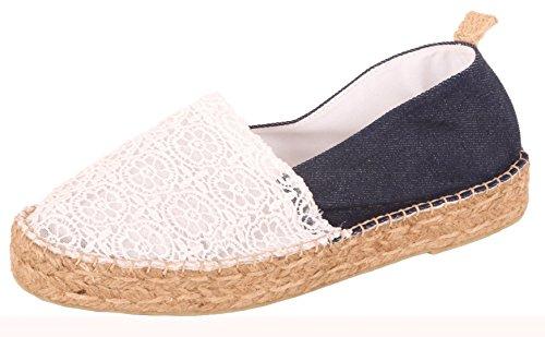 Espadrilles Sommerlatschen, Espadrilles Jeans + Spitze, Damen, SL1419 mehrfarbig (blau-weiß)