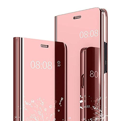 Mirror Case for Samsung Galaxy A50 Cover Slim Flip Stand Translucent Clear View Electroplate Full Body Protective (A50, Rose gold)
