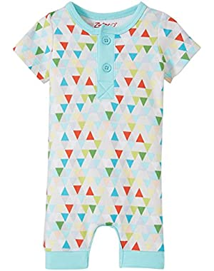 Unisex Baby Triangulum Henley Bodysuit, Multi, New Born