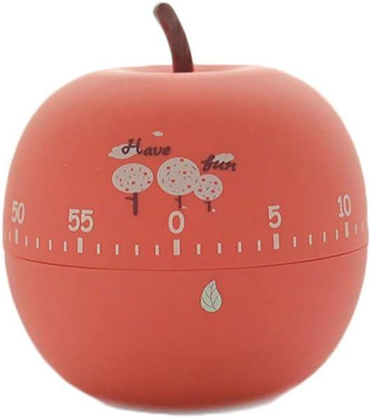 MONLIYA Kitchen Timer Cute Fruit Cookie Kitchen Timer | Novelty Manual Cooking Timer | Fun Shaped Mechanical Timer for Kitchen Alarm Home Desktop Decor (Apple)