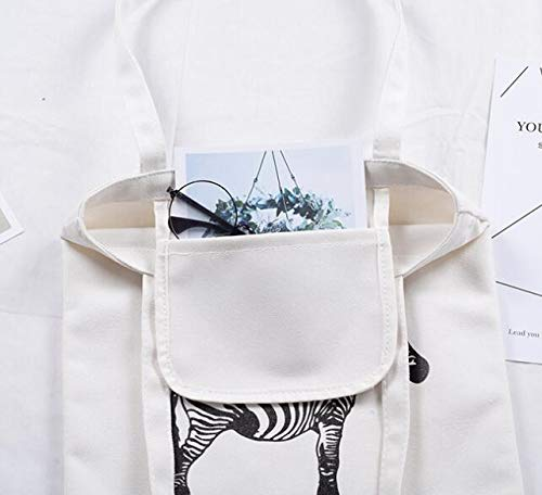 Large Zebra blanc Main À School Sacs Bandoulière Shopping Canvas tout Fourre Sac PwvZxE8fq